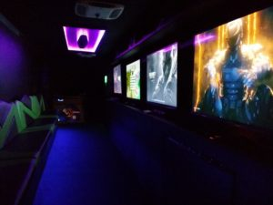 Showing All Screens Running on Inside of Game Truck