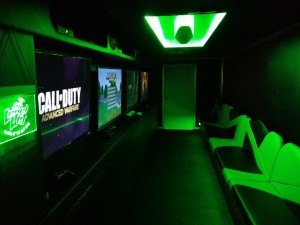 Inside of Level Up Game Truck Bright Green